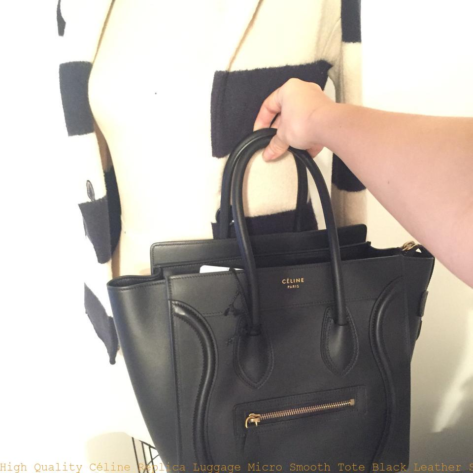 High Quality Céline Replica Luggage Micro Smooth Tote Black Leather Satchel  celine replica nano bag 94997deb5790c